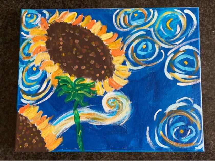 """Sunflower Sunshine,"" a painting by Pacific Beach Middle School student Brynn Sloan, 12."