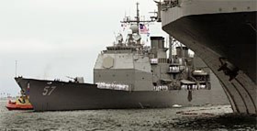 The Navy cruiser Lake Champlain, seen arriving in San Diego after a deployment in 2002, is the focus of a federal investigation after an explosion last month nearly killed a welder at the BAE Systems shipyard on Harbor Drive.