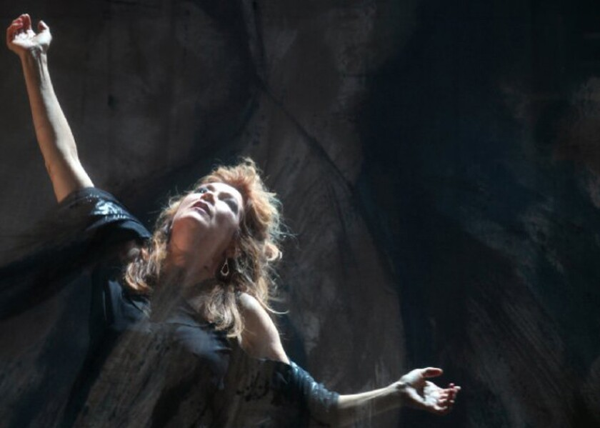 """Suzan Hanson portrays Madeline Usher in the Long Beach Opera production of Philip Glass' chamber opera """"The Fall of the House of Usher."""""""