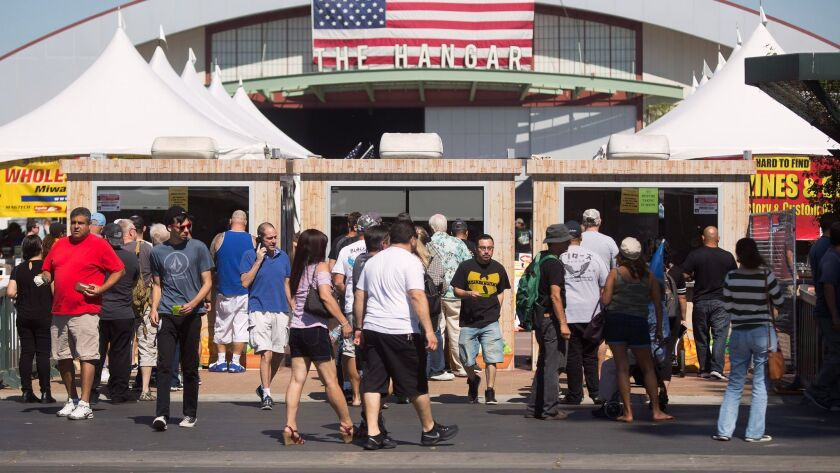 The entrance of the Crossroads of the West Gun Show at the OC Fair & Event Center in Costa Mesa on S