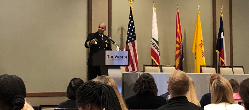 U.S. Surgeon General Jerome Adams speaks at the Western States Opioid Summit on Thursday at the Westin hotel in downtown San Diego.
