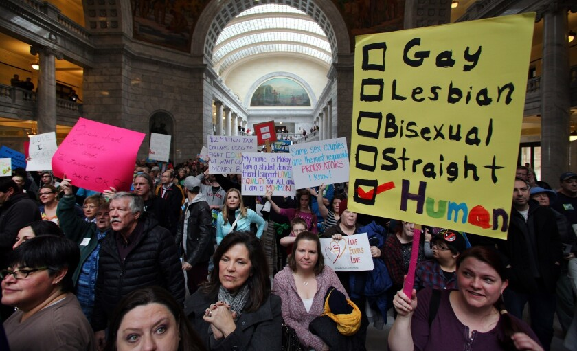 Supporters of gay marriage fill the rotunda during a rally at the Utah State Capitol.