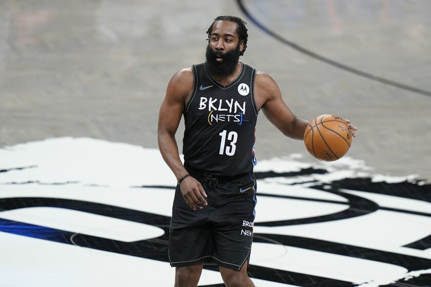 Brooklyn Nets' James Harden looks to pass during the first half of an NBA basketball game against the New York Knicks Monday, April 5, 2021, in New York. (AP Photo/Frank Franklin II)