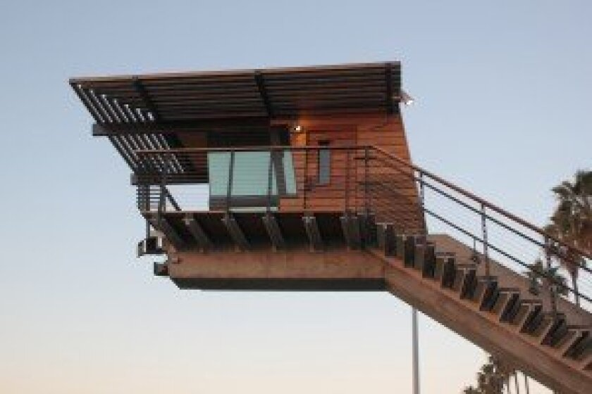 """Lifeguards are having visibility issues with the new La Jolla Shores tower's observation deck, often referred to as the """"brontosaurus head."""""""