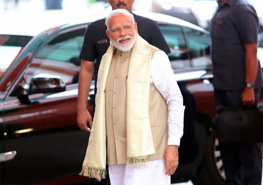 Bharatiya Janata Party leader and Indian Prime Minister Narendra Modi arrives at party headquarters in New Delhi on May 21, 2019.