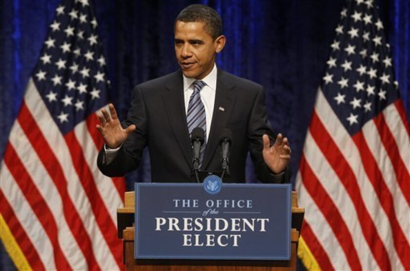 President-elect Barack Obama speaks about the economy at George Mason University in Fairfax, Va.,  Thursday, Jan. 8, 2009. (AP Photo/Charles Dharapak)
