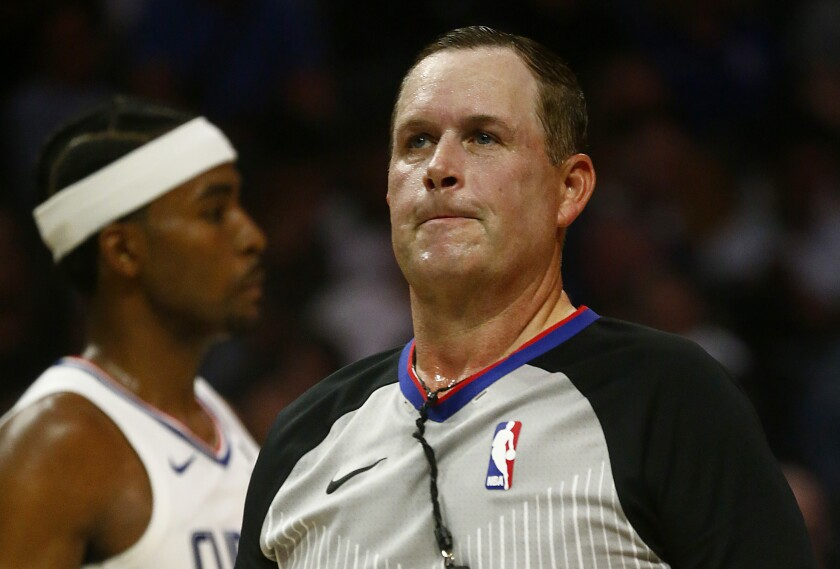 Referee Matt Boland officiates the Raptors-Clippers game Nov. 11 at Staples Center.