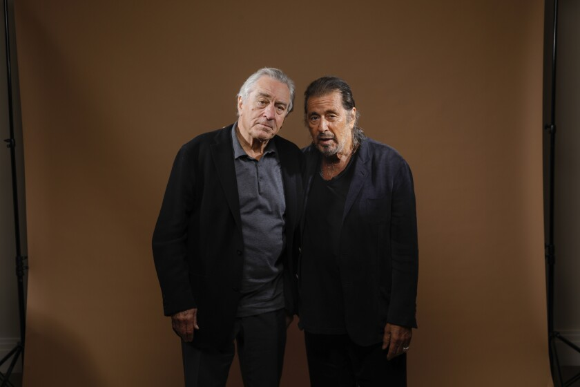 "Robert De Niro and Al Pacino, stars of Martin Scorsese's mob drama ""The Irishman."""