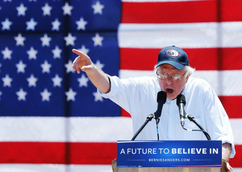 In this May 25, 2016, photo, Democratic presidential candidate Sen. Bernie Sanders, I-Vt., speaks during a campaign rally in Cathedral City, Calif. Sanders has fired up crowds on promises of free college, single-payer health care and breaking up big banks. But in the waning days of his White House bid, he is seeing broad support for a more esoteric pitch _ changing the presidential nominating process. As the primary season concludes, Americans say in a poll by the Associated Press-NORC Center for Public Affairs Research that they have little faith in the Democratic or Republican system for selecting a presidential candidate. (AP Photo/Damian Dovarganes)