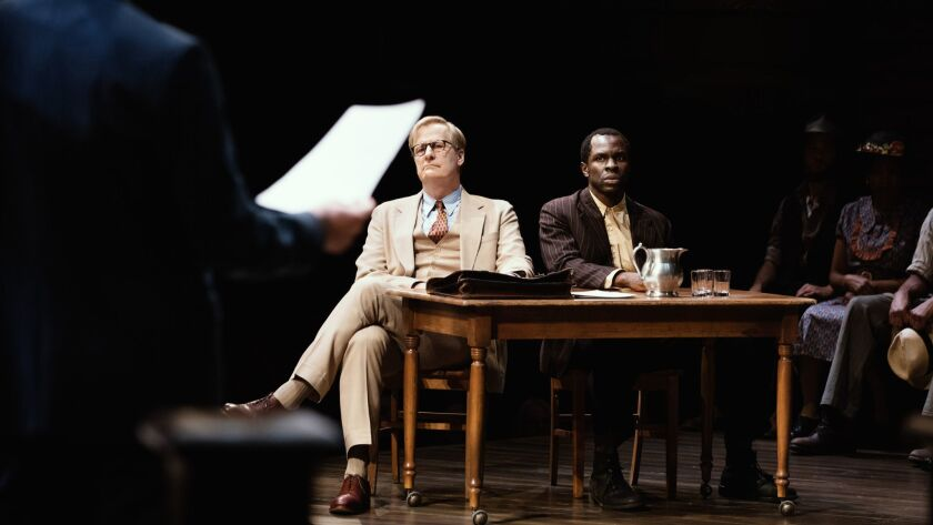 "Jeff Daniels and Gbenga Akinnagbe in Harper's Lee's ""To Kill a Mockingbird"" by Aaron Sorkin. - Phot"