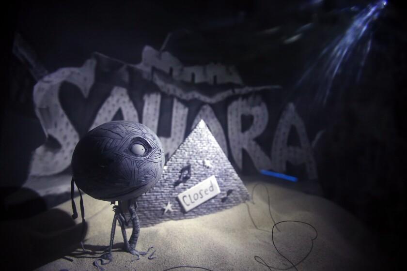 """Mummy Boy Karaoke"" is part of the Tim Burton exhibition on view through mid-February in Vegas."