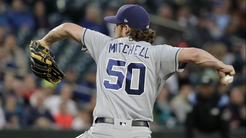 Bryan Mitchell throws against the Seattle Mariners on Tuesday at Safeco Field.