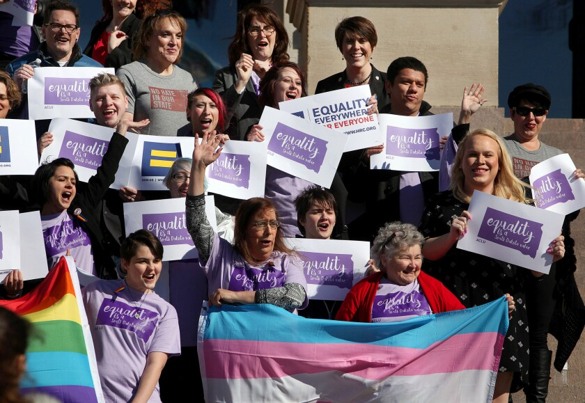 Transgender rights supporters rally in Pierre, S.D., last month.
