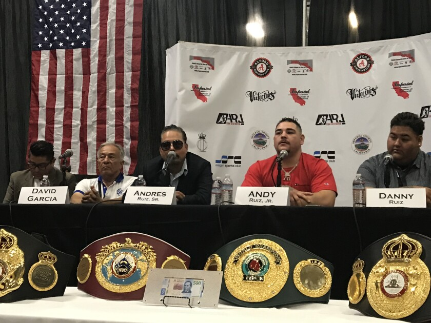 Imperial native Andy Ruiz Jr., second from right, beat Anthony Joshua on June 1 to become the undisputed heavyweight champion on the world. Ruiz spoke Friday during a press conference in Imperial.