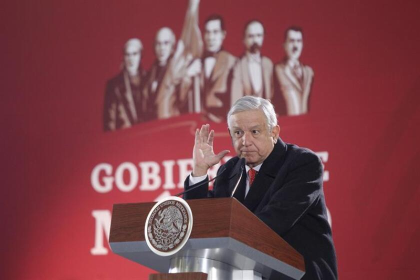 Mexican President Andres Manuel Lopez Obrador delivers a press conference, at the National Palace, in Mexico City, Mexico, 03 January 2019. Obrador affirmed that homicides have dropped marginally during the last month. EPA-EFE/ Sashenka Gutierrez