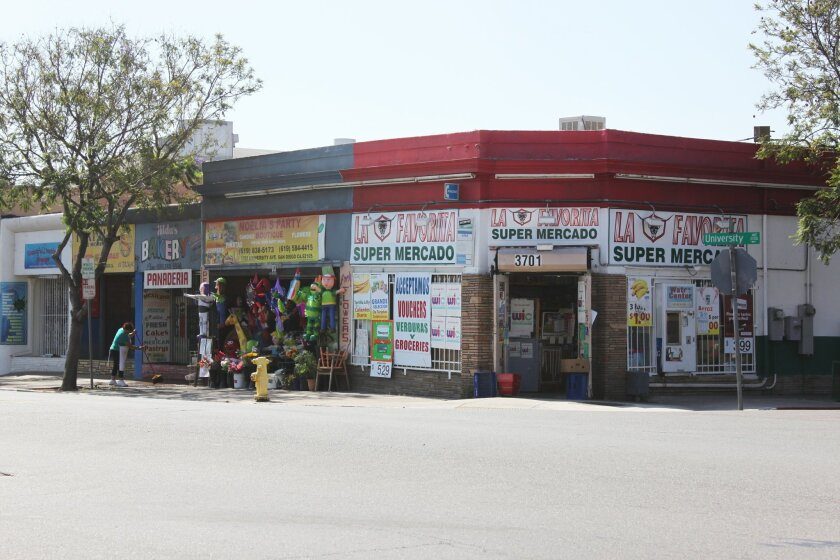 Storefronts at the intersection of University Avenue and 37th Street in City Heights.