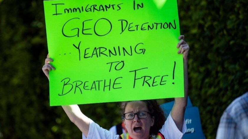 Demonstration against GEO and immigrants imprisonment in Los Angeles, USA - 16 May 2019