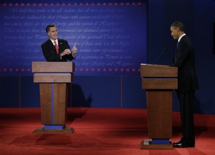 FILE - In this Oct. 3, 2012 file photo, Republican presidential nominee Mitt Romney points to President Barack Obama during the first presidential debate at the University of Denver in Denver. Millions of words have been spoken, shouted, whispered and wasted in the day-in, day-out grind that was the 2012 presidential campaign. Precious few of them will endure past Election Day. But a few caught people's attention long enough to bring a smile or provoke a head shake. Even Obama had to concede that he bombed in his first debate with Romney. The president tried to minimize the importance of the debate by dismissing it as an off night, but the event energized Republicans at a critical moment, just when they thought the race might be slipping away from them. (AP Photo/Eric Gay, File)
