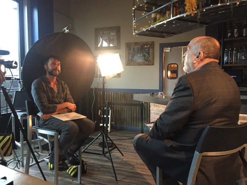 Terry Cunningham being interviewed by Director Paul Detwiler at The Rail. (Courtesy photo)