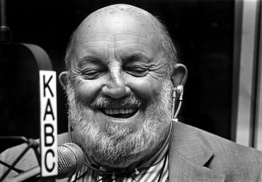 Ansel Adams laughs as he is asked about the shape of his nose by KABC talk show host Michael Jackson.