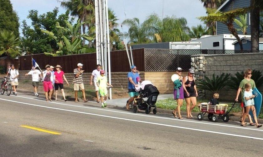 Residents enjoy the bike and pedestrian restriping on La Costa Avenue during a recent joy ride/walk.