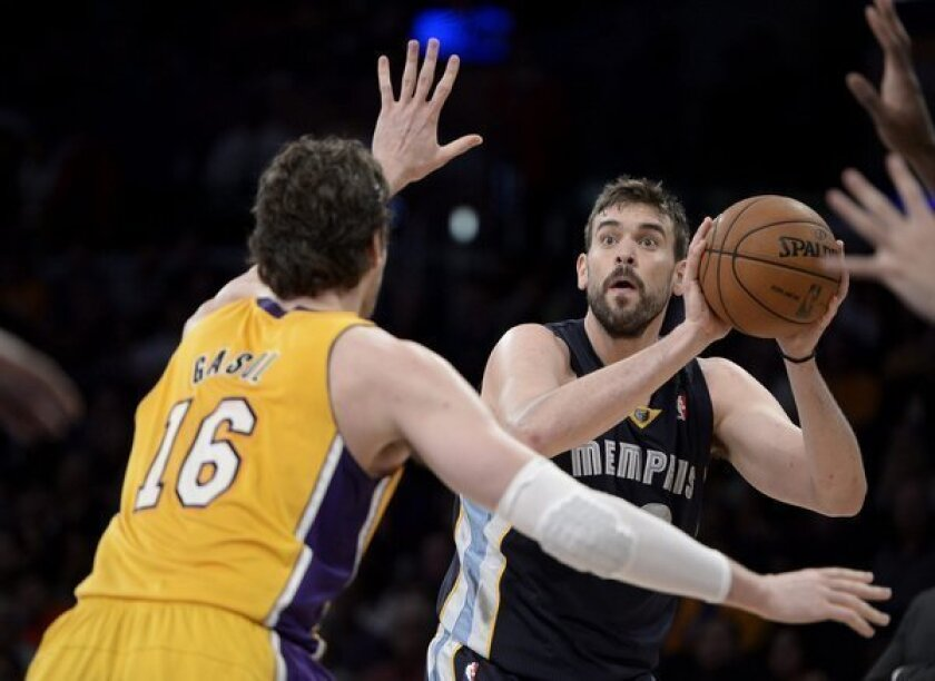 Lakers forward Pau Gasol (16) guards his brother, Memphis Grizzlies center Marc Gasol, during a game earlier this month.