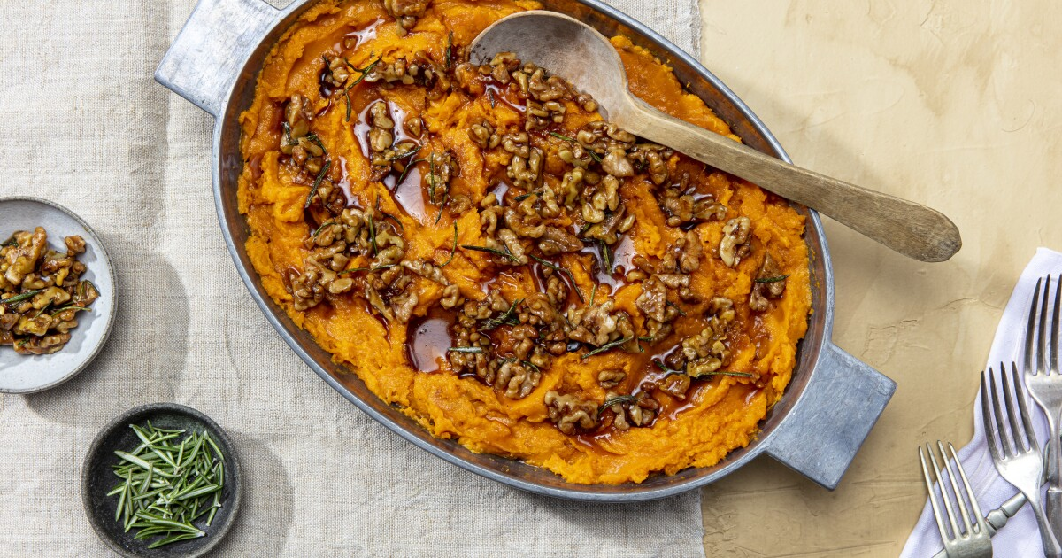Very Slow-Roasted Yams With Rosemary-Maple Walnuts