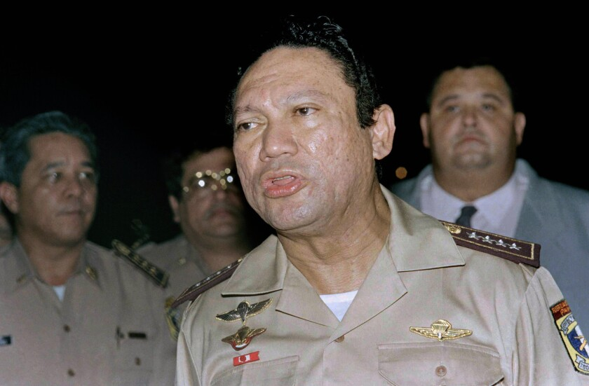 A U.S. invasion of Panama in 1989 ended Manuel Noriega's military dictatorship and landed him in U.S. prison for about two decades on drug-trafficking charges. Above, Noriega speaks to the media in Panama in 1989.