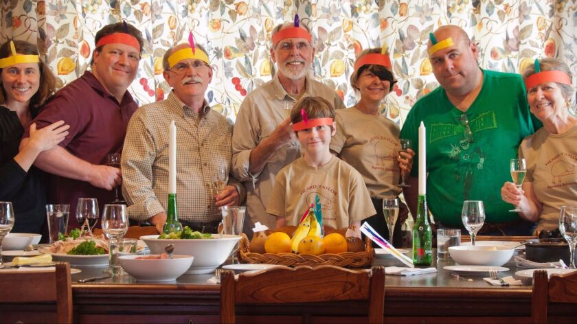 """Thanksgiving dinner was in New Zealand, but it followed the traditions of a New England holiday feast, including """"Peargrims"""" and members of the """"Banana Tribe"""" serving as the centerpiece."""