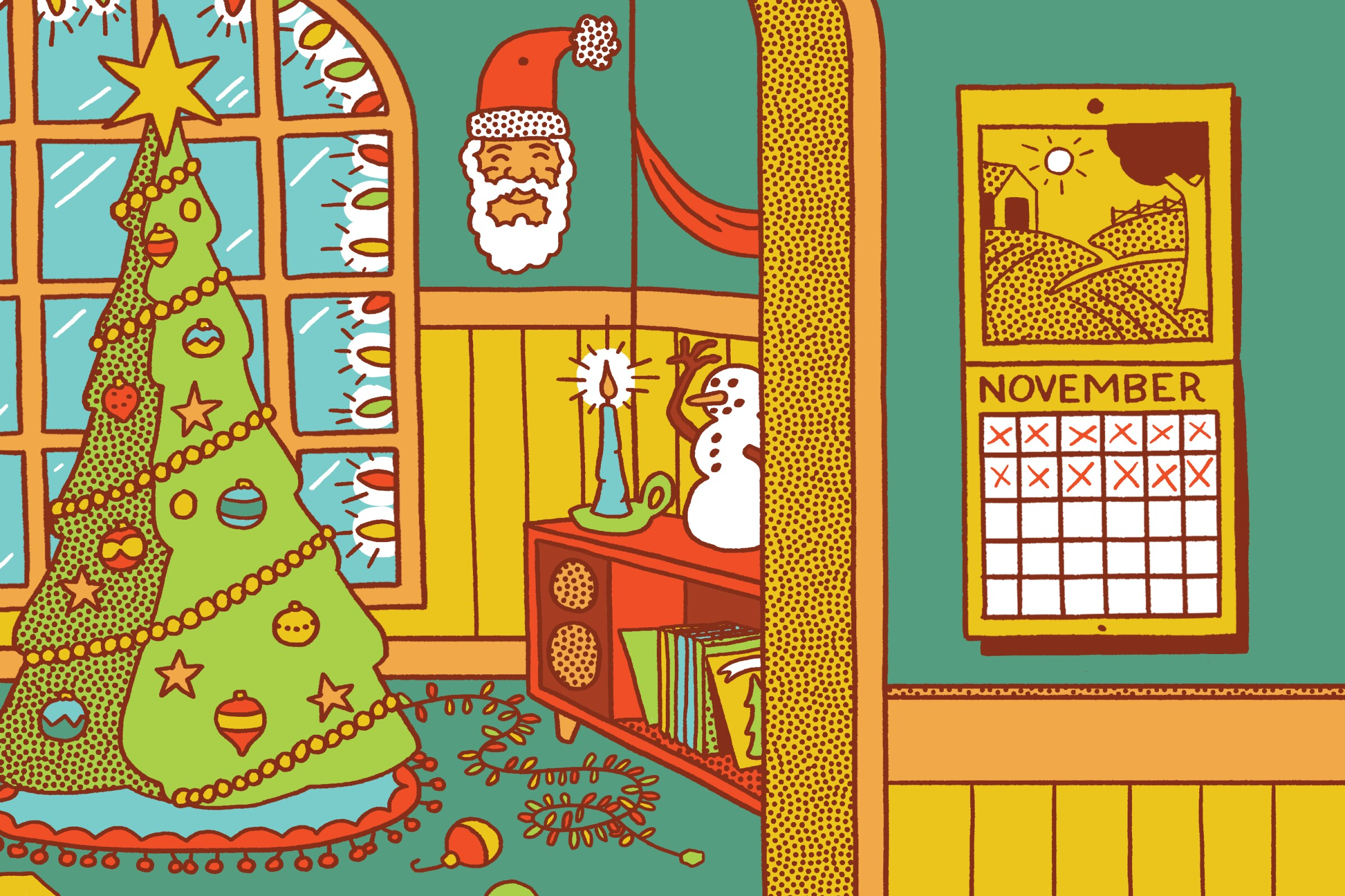 Illustration of Christmas decorations up in November