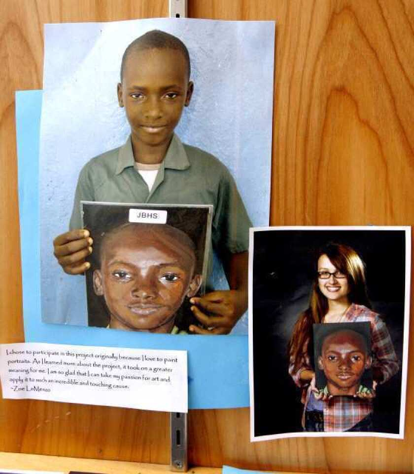 Burroughs High students create self portraits for orphans overseas