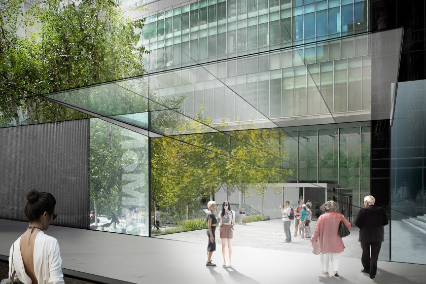 A rendering shows a proposed new entrance to the Museum of Modern Art's sculpture garden along 54th Street.