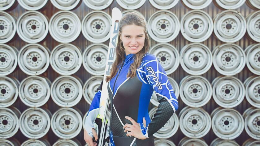 Katrina Schaber, an adaptive standing alpine skier from Carlsbad, hopes to compete in the 2018 Winter Paralympics in South Korea in March.