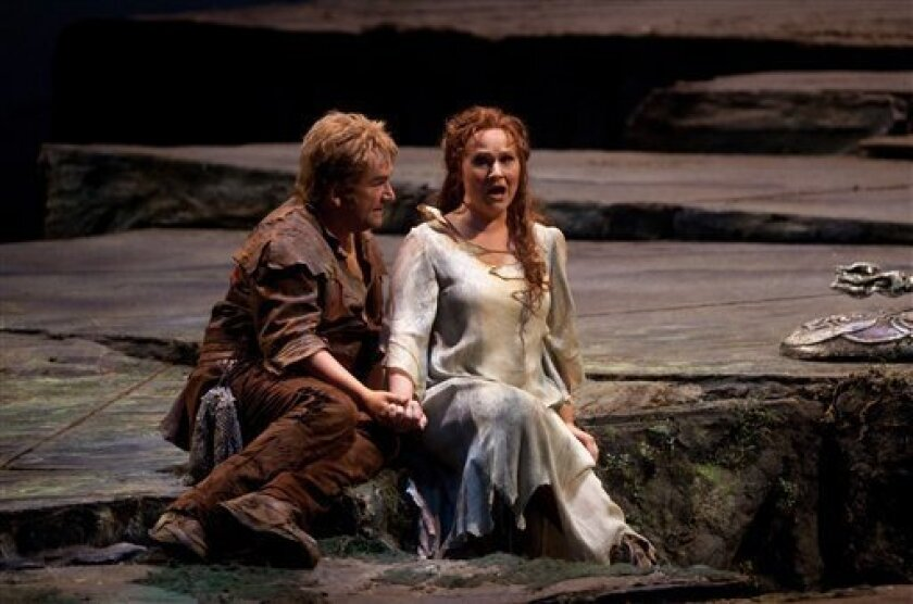 """In this photo provided by the Metropolitan Opera Christian Franz performs as Siegfried with Katarina Dalayman as Brunnhilde in Wagner's """"Gotterdammerung"""" during a rehearsal at the Metropolitan Opera in New York, Wednesday, April 22, 2009.(AP Photo/Metropolitan Opera, Marty Sohl)"""