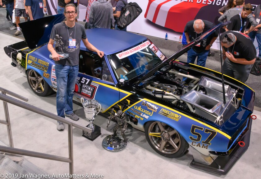 Mike DuSold on the SEMA Show floor with his 1967 Camaro