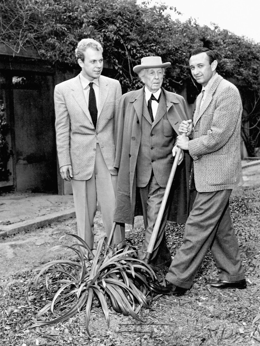 Handout photo from 1954 for obit of Morris Pynoos. Morris Pynoos (on right) with Frank Lloyd Wright