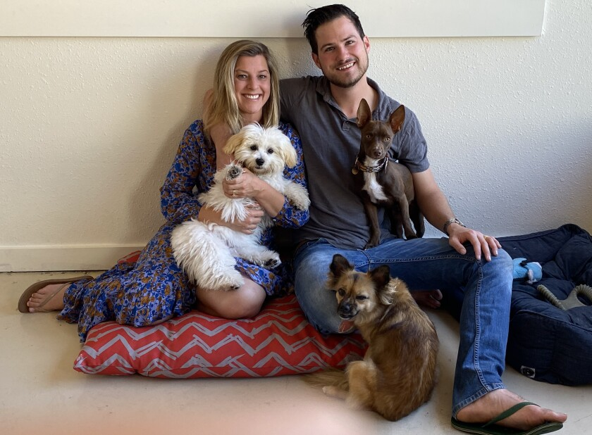 Kensey and Cody Decker pose with some friends in the daycare room at Decker's Dog + Cat, the pet-supply store they own at 7928 Ivanhoe Ave.