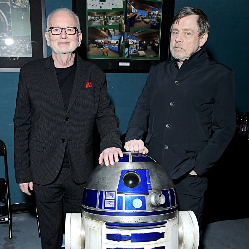Ian McDiarmid and Mark Hamill with R2D2 for world premiere of 'Star Wars: The Rise of Skywalker'