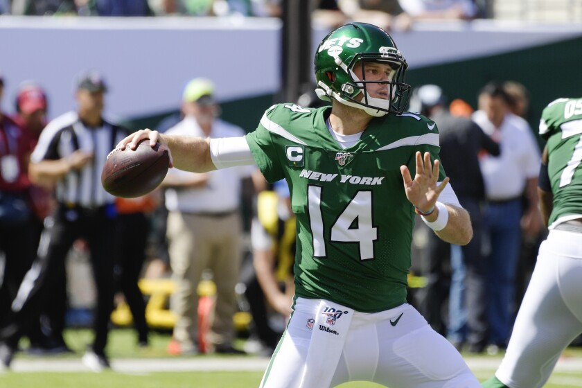 New York Jets quarterback Sam Darnold throws a pass during a game against the Buffalo Bills on Sept. 8 in East Rutherford, N.J.
