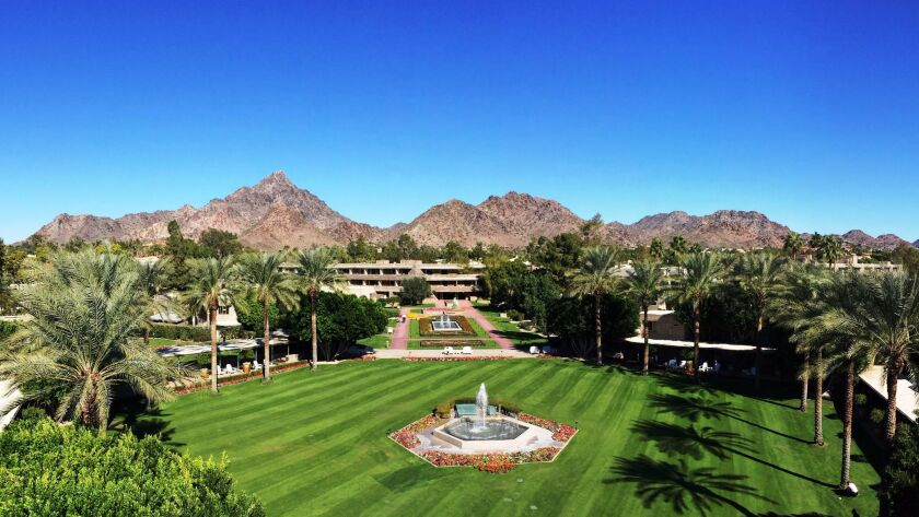 Spring-training fans can stay at the Arizona Biltmore and gaze at mountain views from the Squaw Peak Lawn.