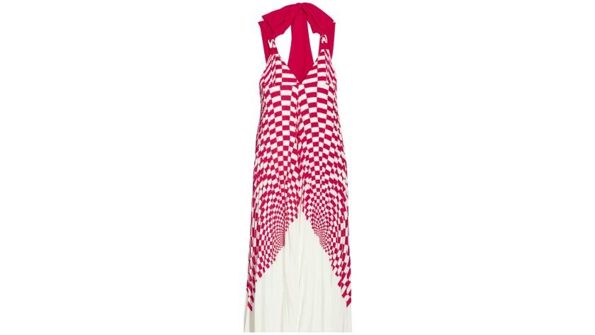 Fendi tie-back plissé silk crepe de chine midi dress.