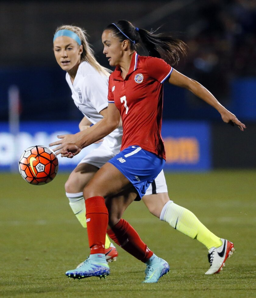 United States Julie Johnston, rear, defends as Costa Rica forward Melissa Herrera (7) controls the ball in the first half of a CONCACAF Olympic qualifying tournament soccer match Wednesday, Feb. 10, 2016, in Frisco, Texas. (AP Photo/Tony Gutierrez)