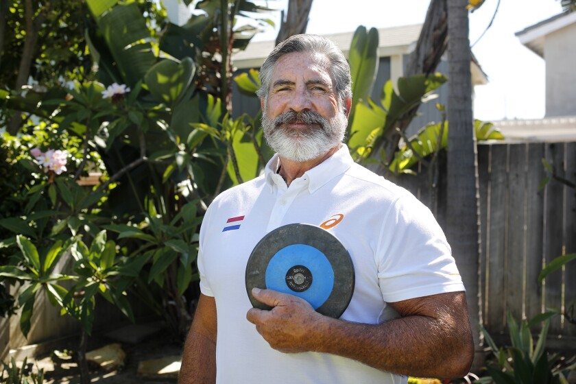 Tony Ciarelli is shown at his home in Huntington Beach. Ciarelli is the longtime throws coach at Newport Harbor High School.