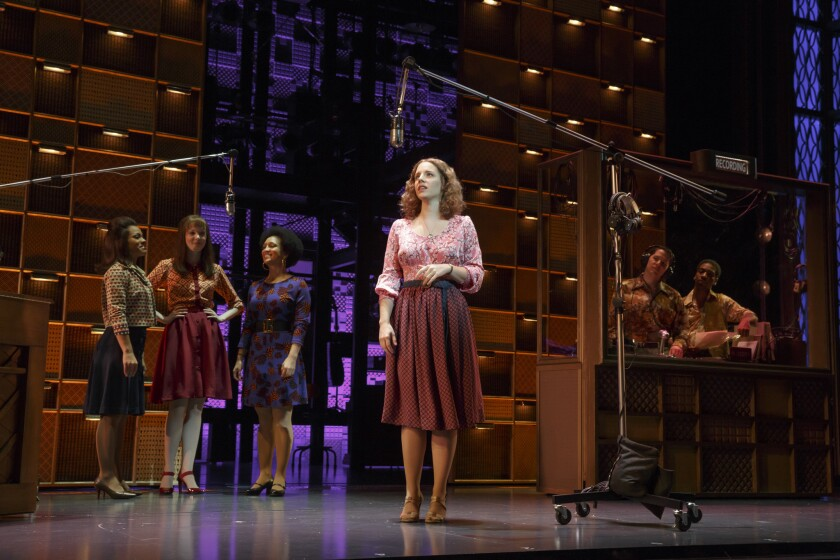 """Jessie Mueller as Carole King and cast in """"Beautiful - The Carole King Musical"""" on Broadway at the Stephen Sondheim Theater."""