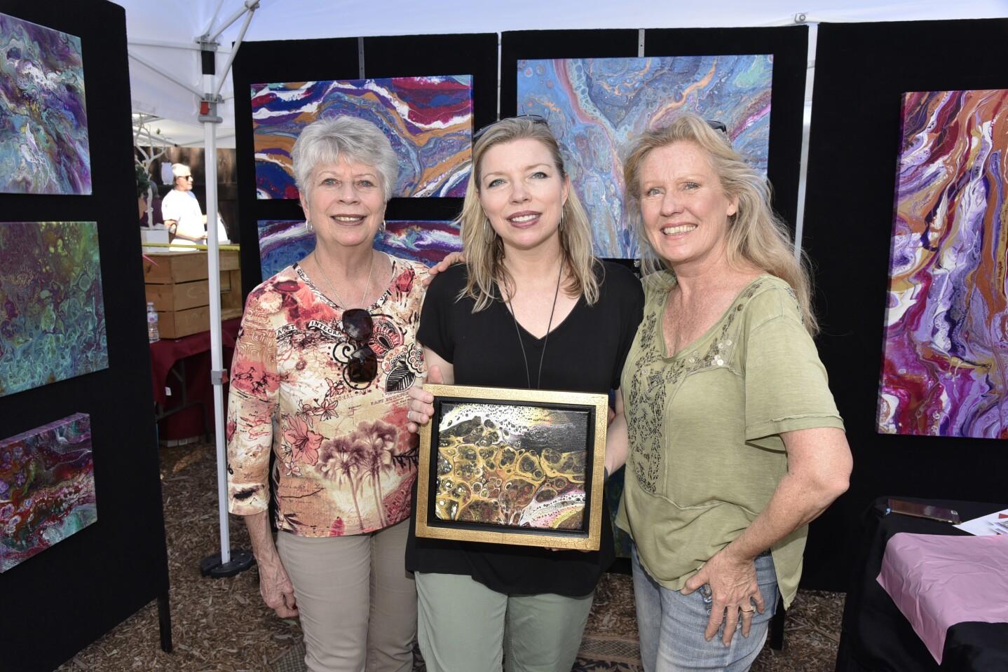Ruth Hoffman, Valerie Barnes with her new art, artist Marsha Bakko (www.MarshaBakko.com)