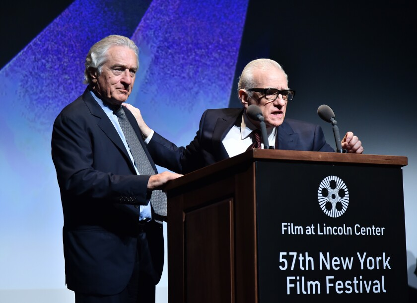 "Robert De Niro and Martin Scorsese introduce ""The Irishman"" at the New York Film Festival."