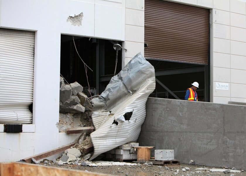 An explosion at a Poway business injured at least four people and caused substantial damage to part of the building Wednesday afternoon.