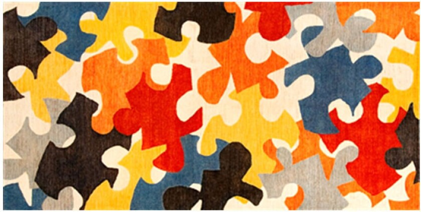 Rug by Frank Gehry inspired by puzzle pieces