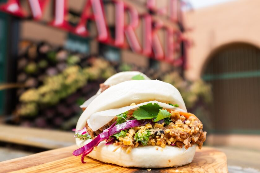 The steamed pork bun with crispy garlic from the Bao Bar at Liberty Public Market.
