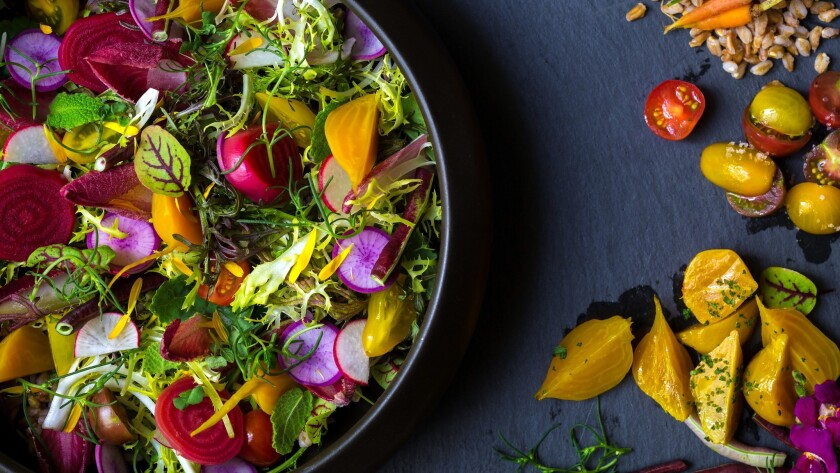 The Farmer's Salad at Roy Ellamar's new Harvest restaurant at the Bellagio changes each week to adapt to what's fresh.